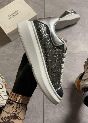 "Кроссовки Alexander McQueen Silver ""Leather Trimmed Glitter""."