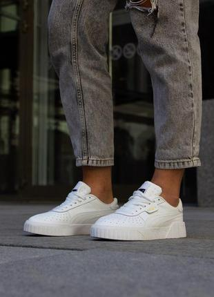 Puma cali all white женские кроссовки пума белого цвета кожа (...