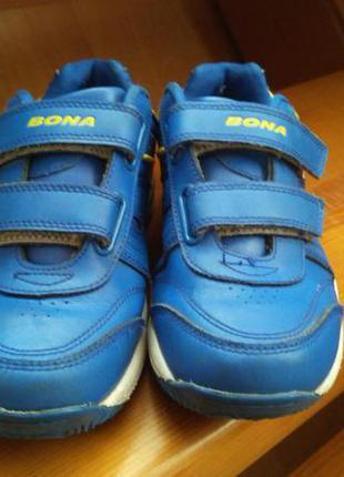 Кроссовки bona, голубые, кожаные