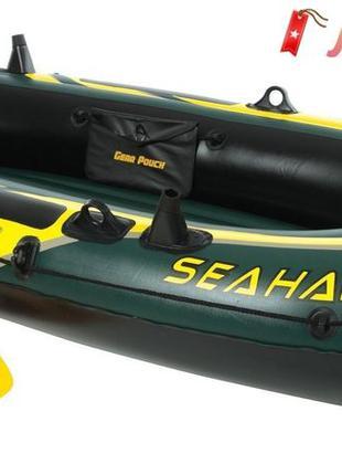 Двухместная надувная лодка Intex Seahawk 2 Set с веслами и нас...