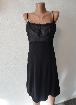 Платье классическое на брителях, черное, сарафан
