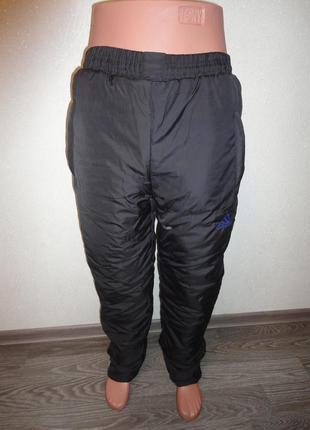 Теплые спортивные штаны на флисе черные, зима