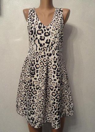 Нарядный леопардовый сарафан миди, платье солнцеклеш