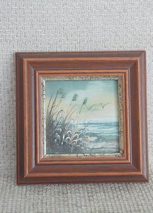 №447 Мини картина масляные краски Германия 10,7 х 10,7 см.