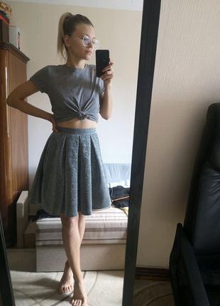 Серебристая юбка-колокольчик, юбка А-силуэта