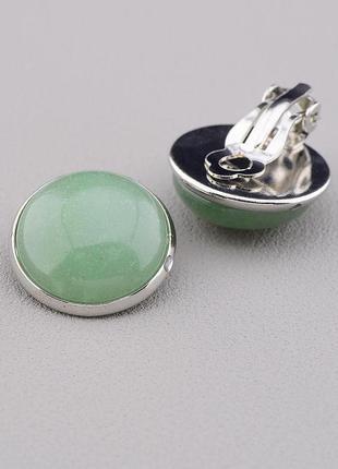 Серьги клипсы женские с натуральным зелёным камнем нефрит