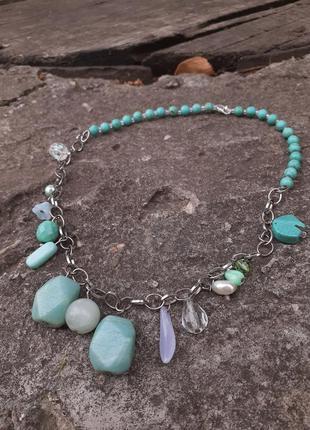 Колье авторское натуральные камни бирюза голубая лагуна