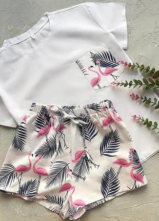 Нежный фламинго, шорты и майка
