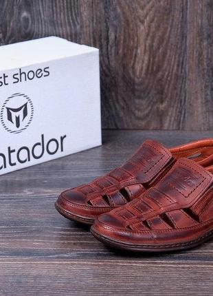 Мужские кожаные летние туфли matador brown 52к