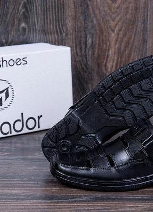 Мужские кожаные летние туфли matador black