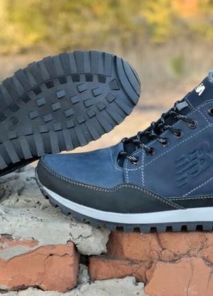 Мужские кожаные ботинки new balance clasic blue