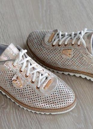 Перфорированные кожаные мокасины на шнурке 521-1 3д беж