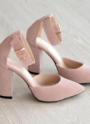 Красивые женские туфли 19116 пудра з