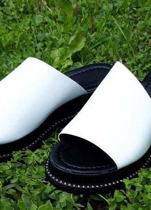 Кожаные женские шлепанцы 1990 бел