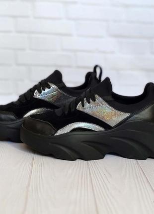 Женские кроссовки из натуральной кожи и замши 1252 ч
