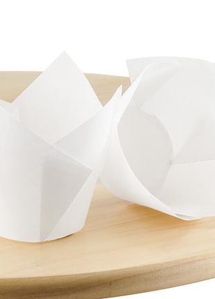 Бумажные формы Тюльпан для выпечки кексов. Белые.
