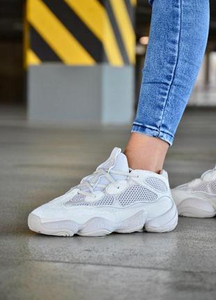 Женские бежевые кроссовки adidas yeezy boost 500 blush