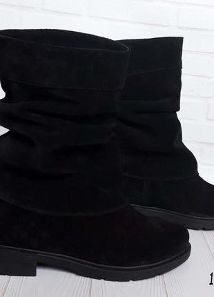 Замшевые зимние полусапожки на небольшом каблуке 1301 чз
