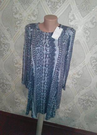 Легкая туничка -платье из натуральной ткани bershka