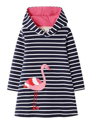 Платье для девочки, синие. фламинго.
