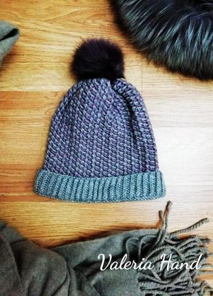 Детская вязаная теплая демисезонная шапка - возраст 5-7 лет