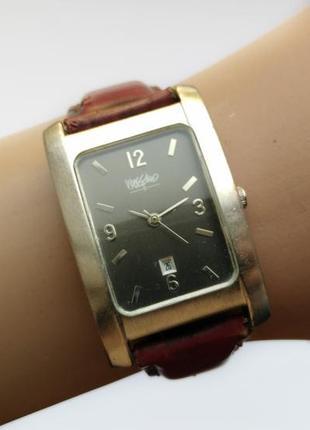 Mossimo часы из сша с датой кожаный ремешок мех.japan miyota