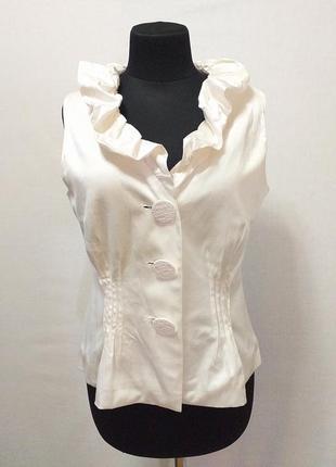 Airfield жакет блуза топ шелк 40 % белый на пуговицах