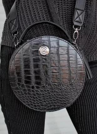 Стильная круглая сумка сумочка кросс боди черная