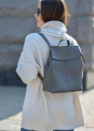 Сумка-рюкзак серый, серого цвета, вместительный трансформер