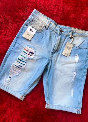 Джинсовые шорты .модные джинсовые бриджи. коттон. джинсы. denim c