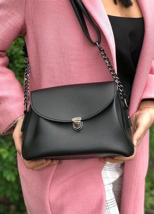 Черная женская сумочка, сумка клатч с цепочкой