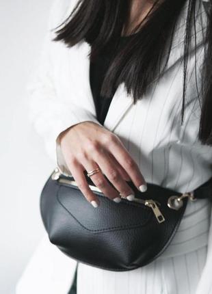 Женская сумка на пояс, поясная клатч, на ремне черная