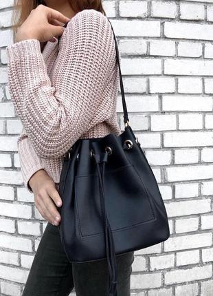 Сумка-мешок, сумка-шопер + клатч, черная. 8 цветов