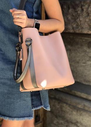 Женская розовая сумка, вместительная, пудра, удобная, 4 цвета,...