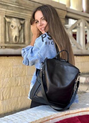 Кожаный городской черный рюкзак, в школу, в университет, для п...