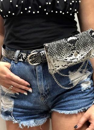 Женская сумка на пояс черо-белая змея