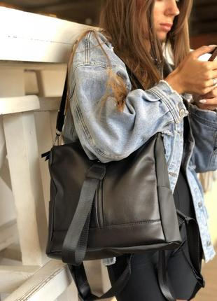Кожаная сумка-рюкзак angelo черного цвета, кожаный черный рюкзак