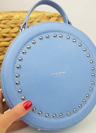 Клатч круглый david jones голубой, женская сумка, сумочка круг...