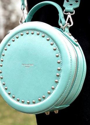 Клатч круглый зеленый бирюзовый david jones, сумка, сумочка кр...