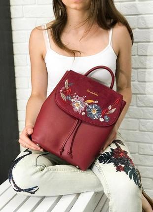 Женский рюкзак david jones красный бордовый в школй для девочк...