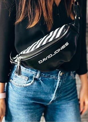 Сумка через плечо черная david jones, бананка, поясная сумка