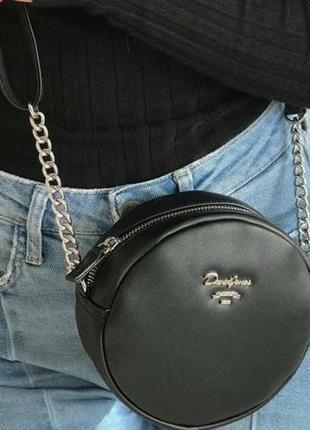 Клатч черный круглый david jones, сумка, сумочка на пояс черная