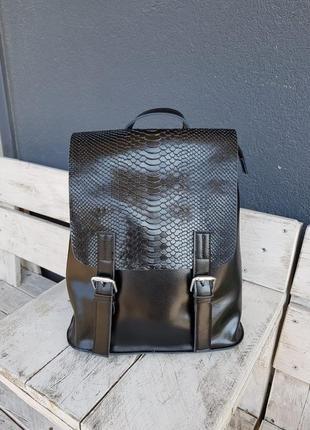 Женский кожаный черный рюкзак в школу а4, сумка-рюкзак 4 цвета