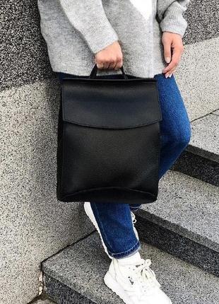 Женский кожаный черный рюкзак в школу а4, сумка-рюкзак для дев...