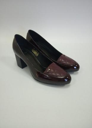 Туфли, кожа, бордо,туфли на каблуке