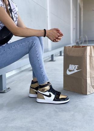 Nike air jordan 1 retro black gold женские кроссовки наложенны...