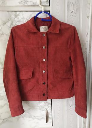 Zara куртка кожаная замшевая укороченная косуха