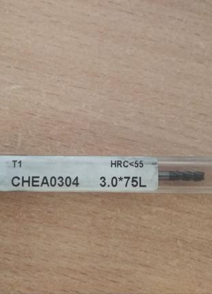 Фреза диаметром 3,длинная твёрдосплав DHF CHEA0304 3.0*75L