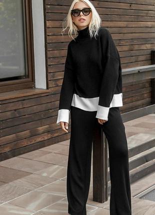 Комплект колор блок вязаный необычный хит 2020 свитер и брюки ...