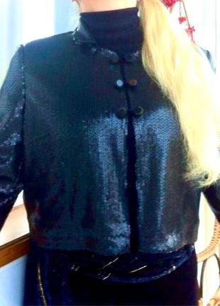 Укороченый жакет-болеро в паетках. пиджак. кофта. блуза. f&f F&F